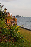Seaside temple at the Lotus Cottages in Candidasa, Bali, Indonesia