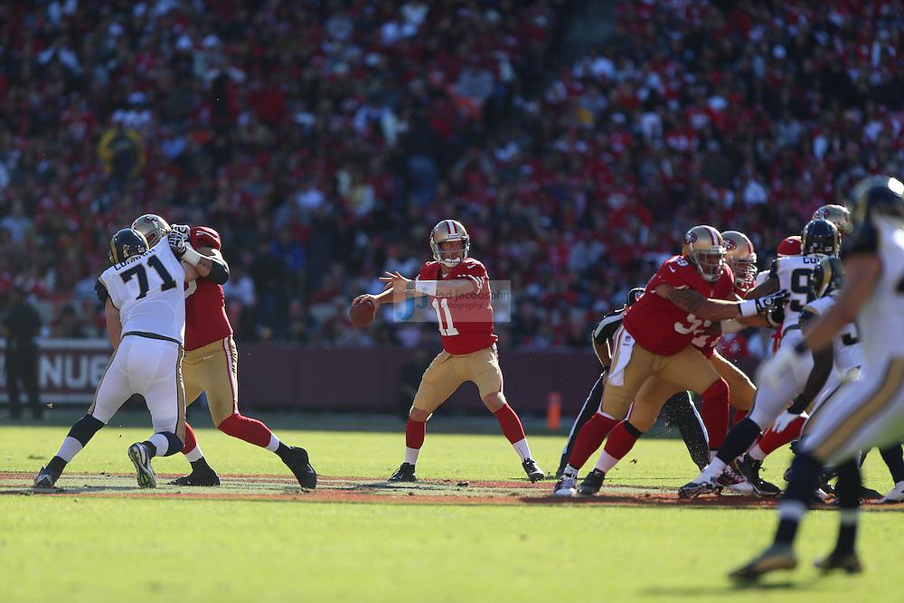 San Francisco 49ers quarterback Alex Smith (11) passes against the St. Louis Rams, Sunday, Nov. 11, 2012 at Candlestick Park, in San Francisco, Ca. (AP Photo/Jed Jacobsohn)