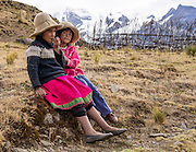 Campesino children at Pishgopampa village in Jancapampa Valley. Day 4 of 10: Trek 10 days around Alpamayo, in Huascaran National Park (UNESCO World Heritage Site), Cordillera Blanca, Andes Mountains, Peru, South America.