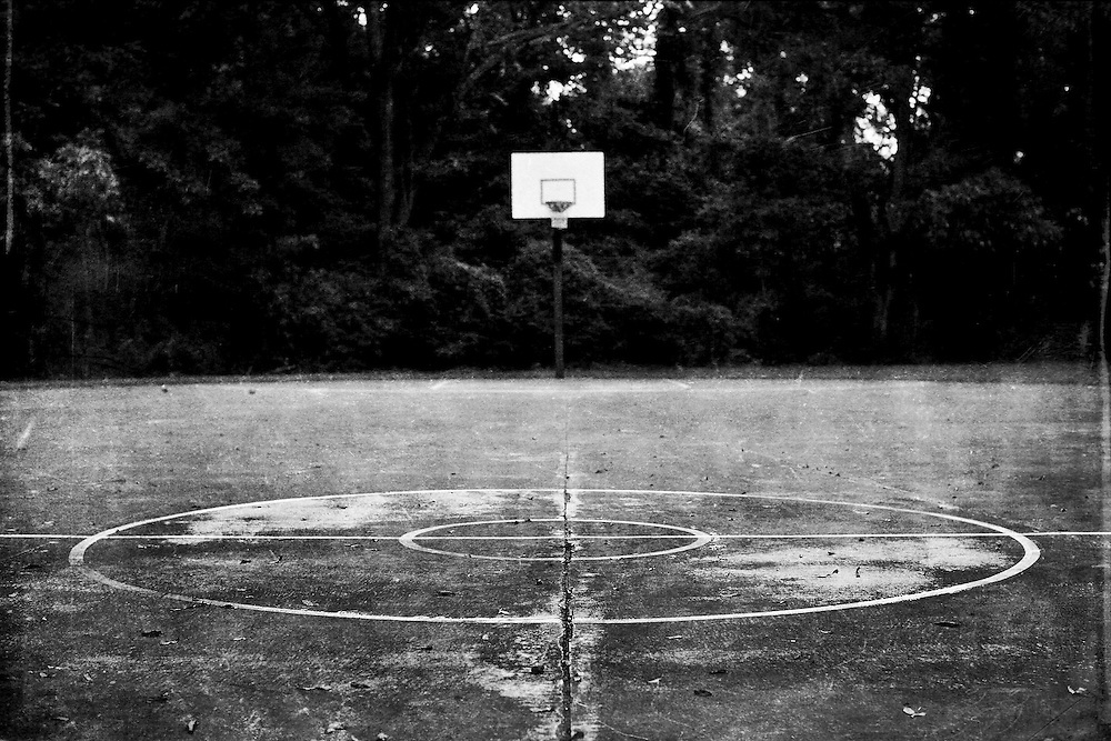 Vacant basketball court at Freedom Park in Charlotte, North Carolina.
