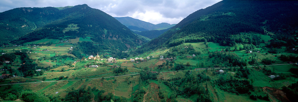 TURKEY, NORTH COAST lovely green mountain valley and farms around the village of Hamiskoy; inland and south-west of Trabzon
