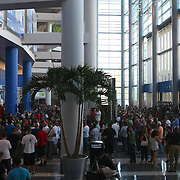 Hundreds of fans turned out to see the official weigh in for the HBO fight between Miguel Cotto of Puerto Rico and Delvin Rodriguez of the Dominican Rebublic at the Amway Arena in Orlando, Florida on Friday, October 4, 2013. This is the first bout in the new Amway Center and the large Puerto Rican population of Central Florida is what drew Miguel Cotto Promotions to feature this event in Orlando. (AP Photo/Alex Menendez)