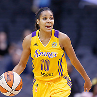 25 May 2014: Los Angeles Sparks guard Lindsey Harding (10) brings the ball up court during the Los Angeles Sparks 83-62 victory over the San Antonio Stars, at the Staples Center, Los Angeles, California, USA.
