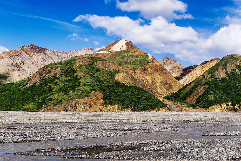 Mountain landscape and braided river, Denali National Park, Alaska., USA.