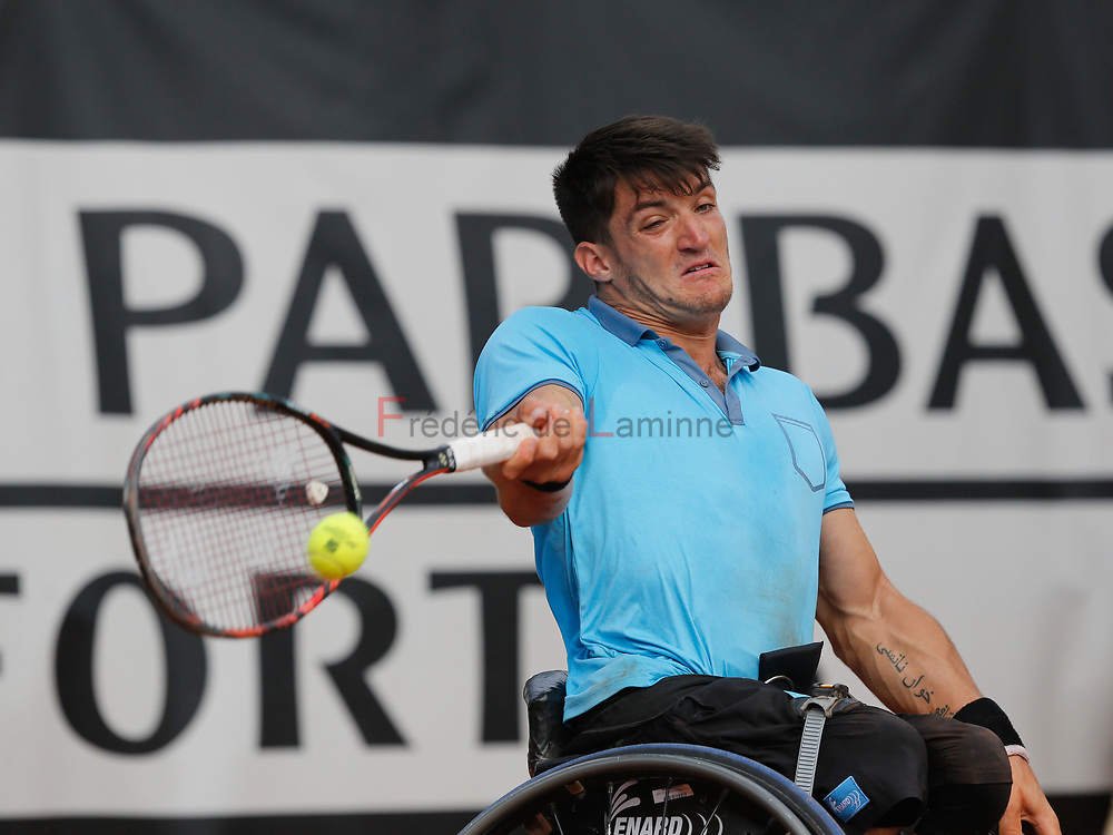 20170730 - Namur, Belgium : Gustavo Fernandez (ARG) returns the ball during his finale against Nicolas Peifer (FRA) at the 30th Belgian Open Wheelchair tennis tournament on 30/07/2017 in Namur (TC Géronsart). © Frédéric de Laminne