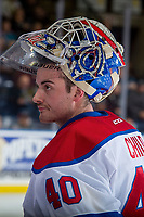 KELOWNA, CANADA - NOVEMBER 14: Travis Child #40 of the Edmonton Oil Kings stands at the bench during a time out against the Kelowna Rockets on November 14, 2017 at Prospera Place in Kelowna, British Columbia, Canada.  (Photo by Marissa Baecker/Shoot the Breeze)  *** Local Caption ***