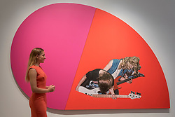 "© Licensed to London News Pictures. 08/09/2017. London, UK. A staff member views ""Riff Lash"", 2010, by Steven Shearer (Est. GBP50-70k), at a preview of 'Shake It Up', a collection of contemporary artworks from the personal collection of celebrity photographer Mario Testino. Proceeds from the upcoming auction of the collection at Sotheby's in London will benefit Museo Mate in Lima, Peru.  Photo credit : Stephen Chung/LNP"