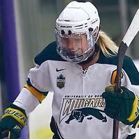 5th year forward, Emma Waldenberger (9) of the Regina Cougars during the Women's Hockey Home Game on Fri Oct 19 at The Co-operators Arena. Credit: Arthur Ward/Arthur Images
