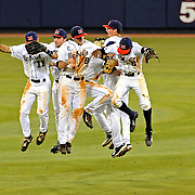 Mississippi players celebrate after an NCAA college baseball game against Georgia in Oxford, Miss., Friday, May 9, 2014. Mississippi won 12-2. (Photo/Thomas Graning)