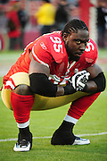 November 12, 2009; San Francisco, CA, USA; San Francisco 49ers defensive end Ricky Jean-Francois (95) stretches before the game against the Chicago Bears at Candlestick Park. The 49ers defeated the Bears 10-6. Mandatory Credit: Kyle Terada-Terada Photo