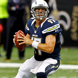 October 7, 2012; New Orleans, LA, USA; San Diego Chargers quarterback Philip Rivers (17) against the New Orleans Saints during the second half of a game at the Mercedes-Benz Superdome. The Saints defeated the Chargers 31-24. Mandatory Credit: Derick E. Hingle-US PRESSWIRE