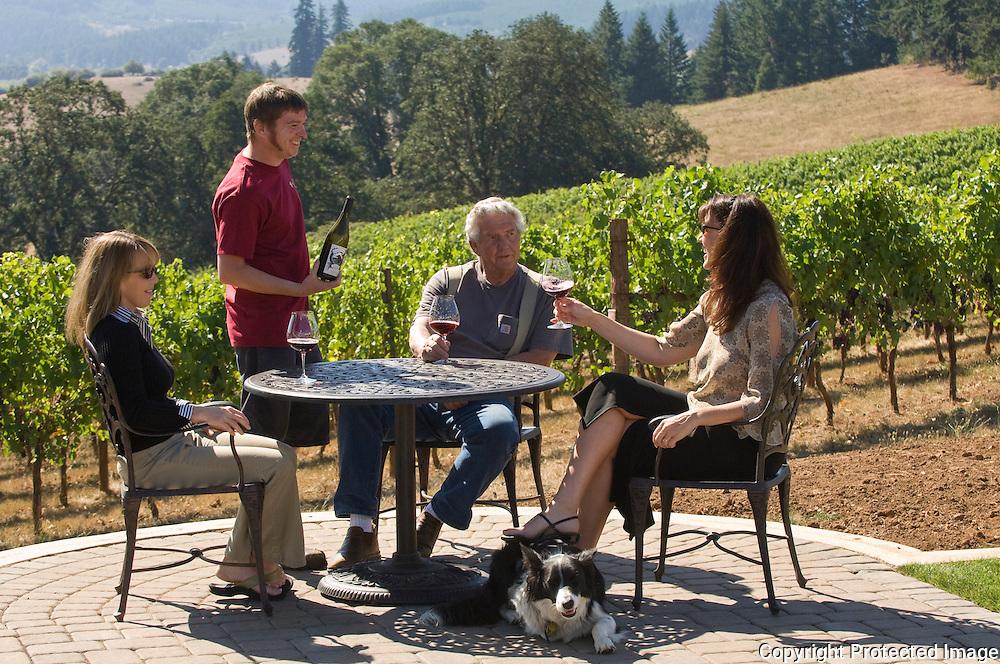 Enjoying a patio tasting at Sweet Cheeks Winery near Eugene, Oregon