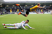 GOTHENBURG, SWEDEN - APRIL 14: Joel Andersson of BK Hacken is tackled by Irvan Jasarevic of Dalkurd FF during the Allsvenskan match between BK Hacken and Dalkurd FF at Bravida Arena on April 14, 2018 in Gothenburg, Sweden. Photo by Nils Petter Nilsson/Ombrello ***BETALBILD***