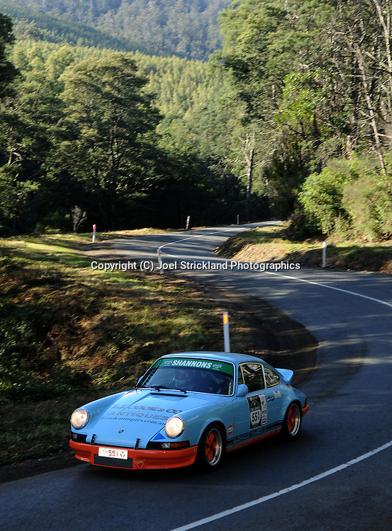 #551 - Greg Cook  & Jenny Cole - 1973 Porsche 911 Carrera RS.Day 2.Targa Tasmania 2010.29th of April 2010.(C) Joel Strickland Photographics.Use information: This image is intended for Editorial use only (e.g. news or commentary, print or electronic). Any commercial or promotional use requires additional clearance.