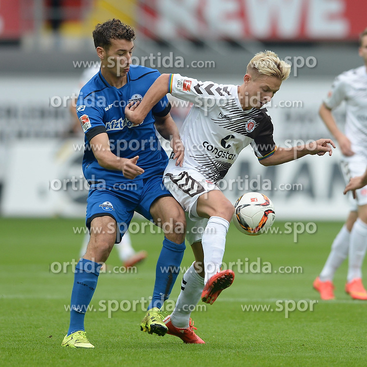 26.09.2015, Benteler Arena, Paderborn, GER, 2. FBL, SC Paderborn 07 vs FC St. Pauli, 9. Runde, im Bild Zweikampf zwischen Dominik Wydra (SC Paderborn 07) (L) und Marc Rzatkowski (FC St. Pauli) // during the 2nd German Bundesliga 9th round match between SC Paderborn 07 and FC St. Pauli at the Benteler Arena in Paderborn, Germany on 2015/09/26. EXPA Pictures &copy; 2015, PhotoCredit: EXPA/ Eibner-Pressefoto/ Sippel<br /> <br /> *****ATTENTION - OUT of GER*****