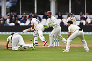 Craig Overton of Somerset dives but misses taking the catch of Alastair Cook of Essex during the Specsavers County Champ Div 1 match between Somerset County Cricket Club and Essex County Cricket Club at the Cooper Associates County Ground, Taunton, United Kingdom on 26 September 2019.
