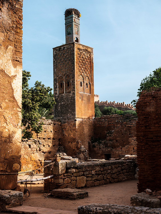 RABAT, MOROCCO - CIRCA APRIL 2017: Ruins in Chellah, an ancient citadel featuring Roman ruins an royal tombstones in Rabat.