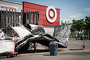 The charred exterior of a delivery truck outside a Target store along Lake Street in Minneapolis, Minnesota on Monday, June 1, 2020. The home goods store was damaged extensively during the civil unrest in the final days of May following the death of George Floyd at the hands of Minneapolis Police Department officers.