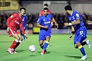 AFC Wimbledon striker Kweshi Appiah (9) trying a through ball during the EFL Sky Bet League 1 match between AFC Wimbledon and Gillingham at the Cherry Red Records Stadium, Kingston, England on 12 September 2017. Photo by Matthew Redman.
