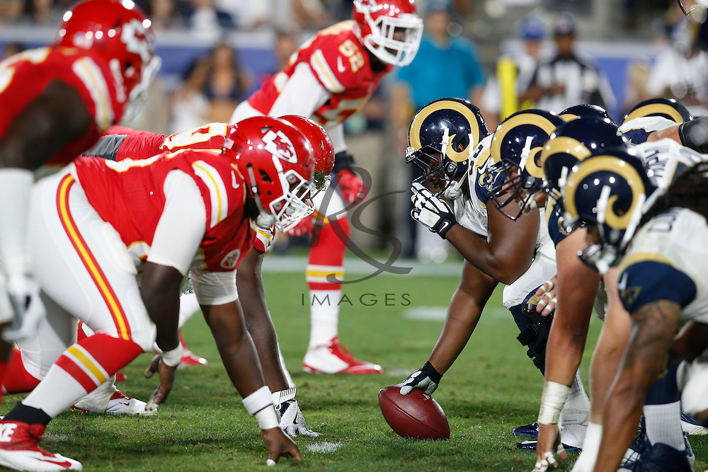 Los Angeles Rams line up against the Kansas City Chiefs during a preseason NFL football game, Saturday, Aug. 20, 2016, in Los Angeles. (AP Photo/Rick Scuteri)