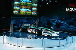 formula one racer as seen at the Chicago Auto Show in February 2001 at McCormick Place, Chicago Illinois...This image was scanned from a slide, print or transparency.  Image quality may vary.  Dust and other unwanted artifacts may exist.