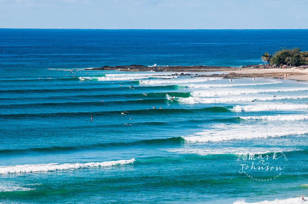 The famous pointbreak surf spot at Snapper Rocks, Coolangatta, Gold Coast, Queensland, Australia