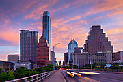 Congress Avenue Bridge crosses over the Colorado River into downtown Austin and the state capitol building.