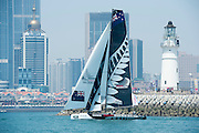 Emirates Team New Zealand. Practice day of the Land Rover Extreme Saling Series regatta in Qingdao China. 30/4/2014