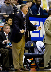 February 13, 2010; Berkeley, CA, USA;  California Golden Bears head coach Mike Montgomery during the first half against the Washington State Cougars at the Haas Pavilion.  California defeated Washington State 86-70.