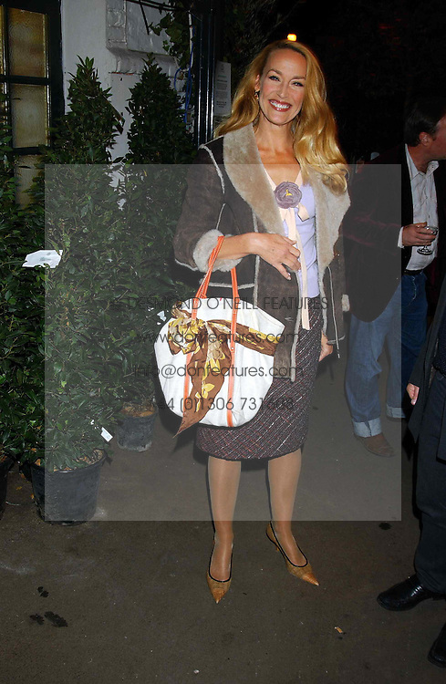 JERRY HALL at an exclusive evening featuring the greatest talents in fashion today in aid of the African children who have been affected bt the AIDS epidemic held at the Chelsea Gardener, Sydney Street, London on 20th September 2004<br />