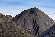 Stockpiles of raw coal, Ashtabula, Ohio, USA.