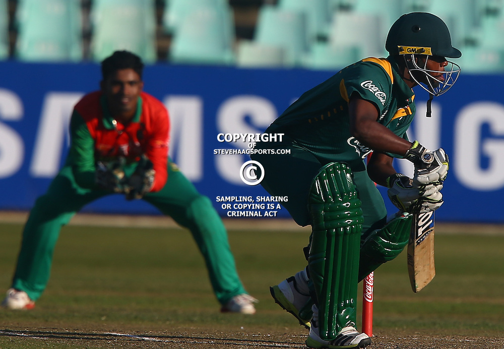 DURBAN, SOUTH AFRICA ,Sunday 19th July, Kabelo Sekhukhune of SA u19s during the  South African under 19s vs the Bangladesh under 19s Cricket Series the last ODI match at Sahara Stadium Kingsmead Sunday 19th July Durban (Photo by Steve Haag)