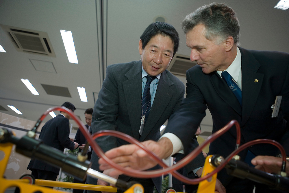 Takeshi Shirane of  toyota  visits  tenneco products  Exibition at the  Toyota HQ in Toyoto City  Japan.