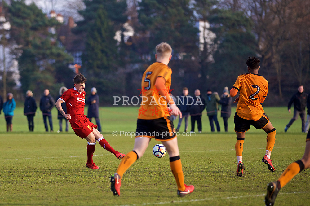 WOLVERHAMPTON, ENGLAND - Tuesday, December 19, 2017: Liverpool's Adam Lewis scores the winning second goal during an Under-18 FA Premier League match between Wolverhampton Wanderers and Liverpool FC at the Sir Jack Hayward Training Ground. (Pic by David Rawcliffe/Propaganda)