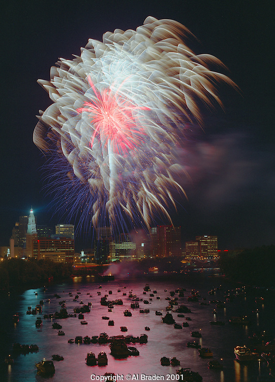 Fireworks over Connecticut River celebrate Riverfest at Hartford, CT.