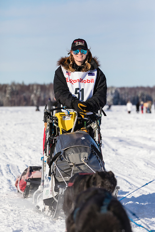 Musher Katherine Keith after the restart in Willow of the 46th Iditarod Trail Sled Dog Race in Southcentral Alaska.  Afternoon. Winter.