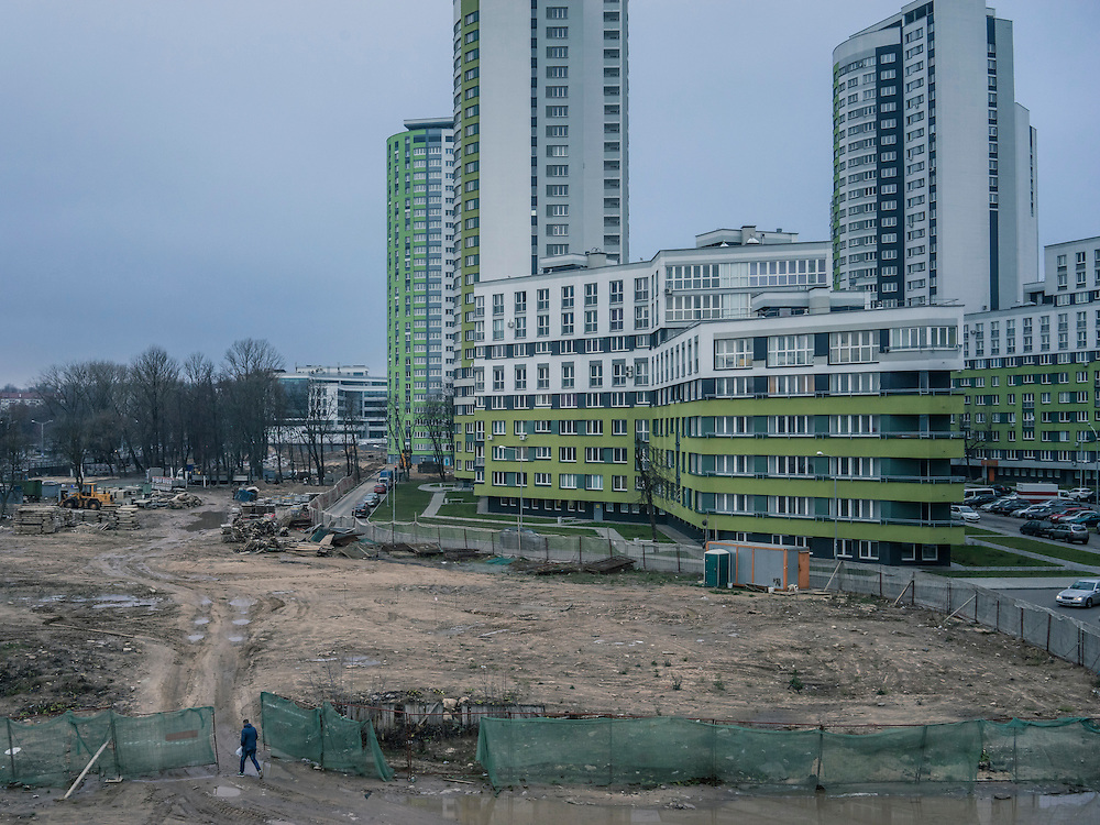 A suburban area which used to be the site of a prison is now the location of new high-rise apartment blocks on Tuesday, November 24, 2015 in Minsk, Belarus.