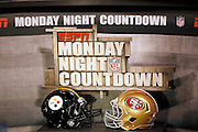 The set of ESPN Monday Night Countdown shows the helmets of the competing teams during the San Francisco 49ers NFL week 15 football game against the Pittsburgh Steelers on Monday, December 19, 2011 in San Francisco, California. The 49ers won the game 20-3. ©Paul Anthony Spinelli