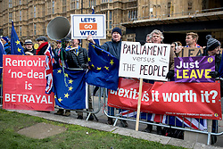"© Licensed to London News Pictures. 13/03/2019. London, UK. Pro- and anti-Brexit protesters demonstrate outside Parliament as MPs continue to debate a series of key votes this week. MPs will vote on whether to remove the option of a ""no deal"" departure from the EU today, after Prine Minister Theresa May's proposed deal was defeated for a second time last night. Photo credit: Rob Pinney/LNP"