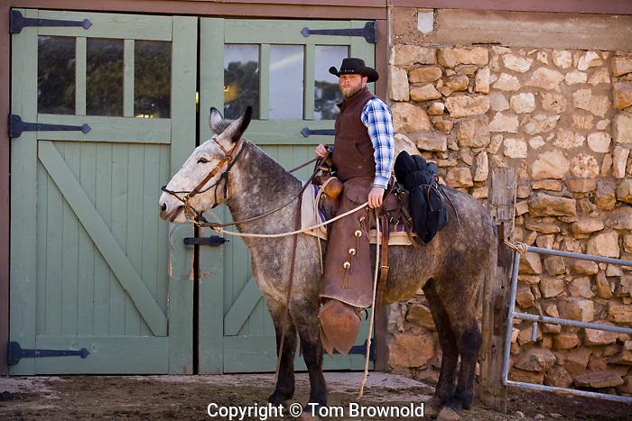 Mule Guide David Cuddbach in front of Yaki Barn, Grand Canyon
