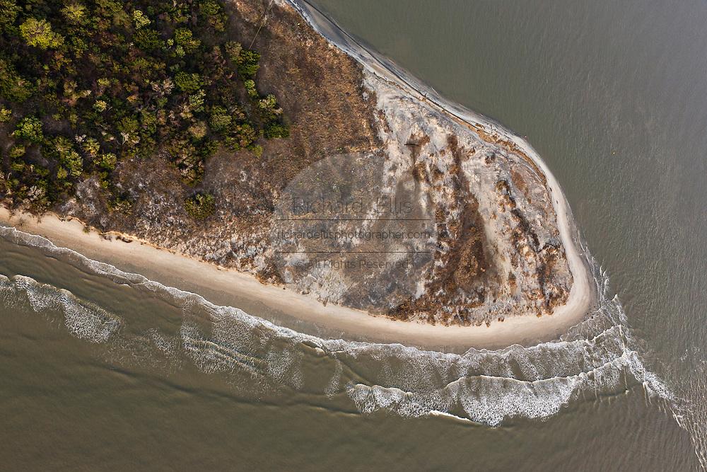 Aerial view of uninhabited beach on Cummings point on Morris Island in Charleston, SC.