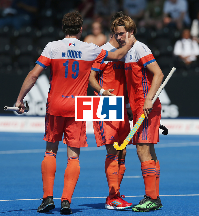 LONDON, ENGLAND - JUNE 19:  Jorrit Croon of the Netherlands celebrates scoring his sides second goal during the Hero Hockey World League Semi-Final match between Netherlands and Canada at Lee Valley Hockey and Tennis Centre on June 19, 2017 in London, England.  (Photo by Alex Morton/Getty Images)