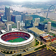 Aerial view of the Original Busch Stadium as seen in 1995, home of the St. Louis Cardinals.