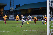Kane Hemmings scores a late penalty to earn Dundee a point - Dundee v Motherwell, Ladbrokes Premiership at Dens Park <br /> <br />  - &copy; David Young - www.davidyoungphoto.co.uk - email: davidyoungphoto@gmail.com