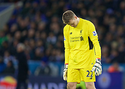 LEICESTER, ENGLAND - Monday, February 1, 2016: Liverpool's goalkeeper Simon Mignolet looks dejected during the Premier League match against Leicester City at Filbert Way. (Pic by David Rawcliffe/Propaganda)