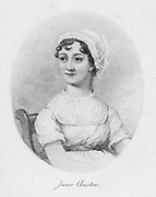 Jane Austen (1775-1817) c1810, 1902. English novelist remembered for her six great novels 'Sense and Sensibility', 'Pride and Prejudice', 'Mansfield Park', 'Emma', 'Persuasion', and 'Northanger Abbey'. From 'Jane Austen: Her Homes & Her Friends' by Constance Hill. (London, 1902).