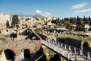 Ercolano, Italia - 23 novembre 2012. Una veduta degli scavi archeologici di Ercolano (Herculaneum). Il sito archologico di epoca romana, patrimonio dell'Unesco, distante solo pochi km da Pompei, ha riportato alla luce tesori antichi di inestimabile valore. A differenza di Pompei, ad Ercolano sono stati ritrovati reperti organici ed in legno che hanno permesso agli archeologi di studiare in modo più approfondito le abitudini dell'epoca. Ph. Roberto Salomone Ag. Controluce.ITALY - A view of the archeological site of Herculaneum on November 23, 2012. The world heritage site of roman age, just a few miles away from Pompeii has brought to life treasures that made it possible for archeologists to study in a more detailed way the lifestyle of ancient romans.