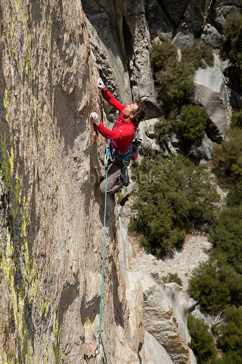 "Peter Croft climbing ""Wicked West of the Witch"" (10+ X) on ""The Witch,"" in The Needles of Southern California."
