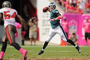 Philadelphia Eagles quarterback Nick Foles (9) looks to pass during the Eagles 31-20 win over the Tampa Bay Buccaneers on Oct. 13, 2013 in Tampa, Florida. <br /> <br /> ©2013 Scott A. Miller