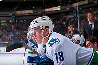 PENTICTON, CANADA - SEPTEMBER 8: Kole Lind #78 of Vancouver Canucks stands on the bench against the Winnipeg Jets on September 8, 2017 at the South Okanagan Event Centre in Penticton, British Columbia, Canada.  (Photo by Marissa Baecker/Shoot the Breeze)  *** Local Caption ***